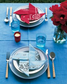 Bandanas folded as napkins bring a unique twist to a patriotic table setting.