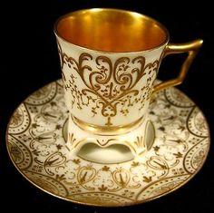 Antique Helena Wolfsohn Dresden Trembleuse Demitasse Cup Saucer Gold 19th C   eBay