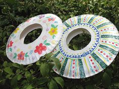 Paper plate frisbees - nothing like art you can throw around and play with when you're done.