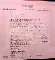 Letter Bear Bryant wrote to Bobby Cannon in December 1963 welcoming him to the University of Alabama.