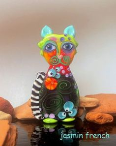 jasmin french ' ABRACADABRA-cat ' lampwork focal glass art bead