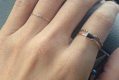 Jennie Kwon - Mini East West Onyx Ring with Black Diamond Equilibrium Cuff Ring