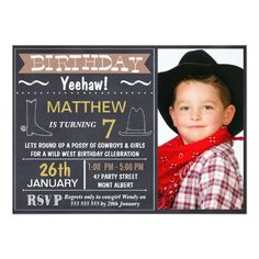 Chalkboard Wild West Photo Birthday Invitation