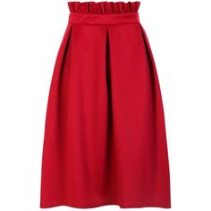 Boohoo Celeste Paperbag Waist Skater Midi Skirt (55 PEN) ❤ liked on Polyvore featuring skirts, maxi skirts, midi skater skirt, knee length skater skirt, midi skirts and pleated skirt