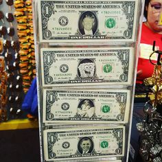 What do #donaldtrump #marylinmonroe #spongebob and #obama have #incommon?  They're all on #1dollar #bills in #giftshops. And they are #legal #currency