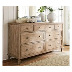 Pottery Barn Sausalito Extra-Wide Dresser - Seadrift ($1,599) ❤ liked on Polyvore featuring home, furniture, storage & shelves, dressers, pottery barn dresser, lacquer bedroom set, coastal cottage furniture, colored furniture and pottery barn bedroom sets