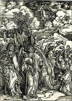 Albrecht Durer, Four angels holding back the winds, and the marking of the elect, Woodcut from Apocalypse Series, 1496-1497, Bartsch 66