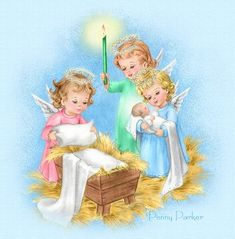 Angels caring for baby Jesus