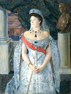 Russian Court dress in painting. Boris Kustodiev. Portrait of Grand Duchess Maria Pavlovna (senior). 1913. #history #Russian #court #dress