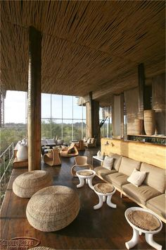 ::African design and African style Singita Lebombo Lodge Pool Bar, Wicker Furniture, Wicker Table, Wicker Baskets, Wicker Couch, Wicker Trunk, Wicker Purse, Casas Country, African Interior Design