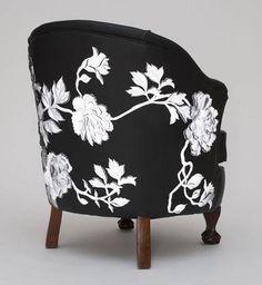 Black and white, floral pattern chair, Helen Amy Murray Black And White Interior, Black White, Sofa Chair, Chair Cushions, Bedroom Chair, Swivel Chair, Tub Chair, Funky Furniture, Cheap Furniture