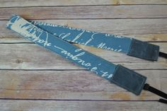 Camera Strap Neoprene padded - Blue French Script cotton / gray Waxed Canvas Darby Mack / dslr gear / photography, Travel France