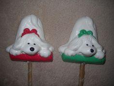 1 Dog Safe Chocolate christmas laying on stick Rawhide treat lollipop Lollipops
