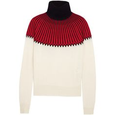 Chloé Snow Capsule intarsia cashmere turtleneck sweater (3.144.195 COP) ❤ liked on Polyvore featuring tops, sweaters, chloe, jumper, red, cashmere turtleneck, red turtleneck, white turtleneck, cream turtleneck sweater and red cashmere sweater