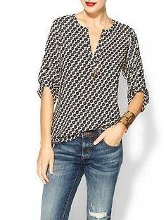 Collective Concepts Drape Sleeve Blouse. Would wear a print like this under a cardigan: