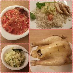 Homemade Hainanese Chicken! To be honest, the rice and the sauces were super, but the chicken was so so XD