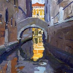 """""""Canal, Venice,"""" Jane Peterson, oil on board, 18 x 18"""", private collection."""