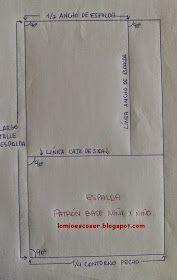 LO MIO ES COSER..... Y HACER PATRONES: Patrón Base Cuerpo Niña y Niño: Trazado Espalda Ideas Para Fiestas, Paper Shopping Bag, Sewing Patterns, Girls Dresses, Lily, Crochet, Manual, Costume, Kids Fashion