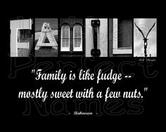 "000 - Alphabet Photo - FAMILY (Nuts) - Inspirational / Motivational Wall Art 8X10 Photograph Matted with Word / Letter Art Photography. • Let this fill your room with creativity and encouragement with its motivational / inspirational message of FAMILY. • This new one-of-a-kind Inspirational Letter Art / Word Art photograph spells the word FAMILY with a motivational / inspirational quote, ""Family is like fudge -- mostly sweet with a few nuts,"" as pictured. • Includes Archival Crystal Fuji..."
