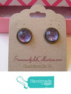 "Glitter Glass Stud Earrings 1/2"" Blue Purple http://www.amazon.com/dp/B017Y7PJBG/ref=hnd_sw_r_pi_dp_bPLrwb1J5BFEF #handmadeatamazon"