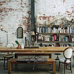 Just Breathe. bookshelf, bricks, dining table