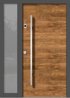 Wood front doors MODERN Wood front doors MODERNSliding door wardrobe Gengler Brayden StudioBrayden StudioMonument protection and villa doors Modern Entrance Door, Front Door Entrance, Modern Door, Modern Exterior, Front Door Decor, Entrance Ideas, Front Entry, Entry Doors, Exterior Design