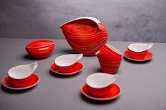 "Serwis ""Dorota"", Lubomir Tomaszewski, AS Ćmielów Fire Painting, Victoria And Albert Museum, Porcelain Ceramics, Mid Century Design, Tea Pots, Art Deco, Polish, Retro, Tableware"