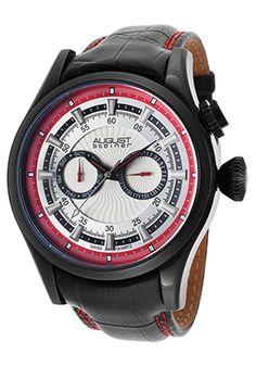 Men's Black Genuine Leather Multi-Function White Dial