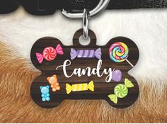Candy Pet Tag, Cute Pet Tag, Girly Pet Tag - Dog Tags For Dogs, Double sided Pet tag, Pet ID Tag, Dog Tag, Personalized Dog Tag by MysticCustomDesignCo on Etsy