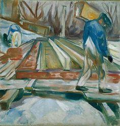 Edvard Munch – Pedreiros Trabalhando na Construção do Estúdio, 192