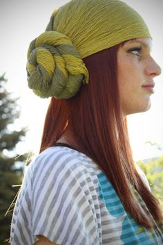Easy Hair :: Wrap scarf around crown of head with twisted rosette to the side.
