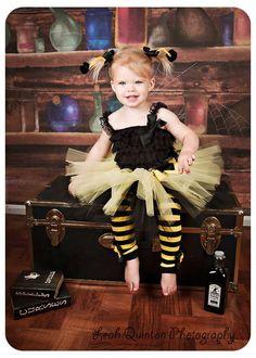 Bumblebee tutu costume with antenna bows custom made size Newborn-4T. $26.00, via Etsy.