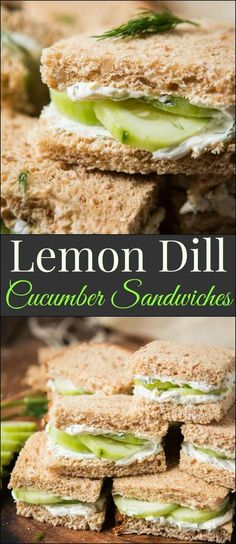 The best lemon dill cucumber sandwiches I've ever had added a touch of Greek yogurt to the spread. Try this awesome tea sandwich recipe at your next party with eureka!®️️ Organic Bread! via @ohsweetbasil