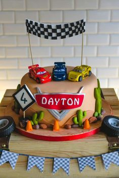 Wow!! Check out this amazing birthday cake at this Fabulous Lightning Mcqueen Birthday Party! See more party ideas and share yours at CatchMyParty.com #catchmyparty #birthdaycake #disneycarsbirthdayparty