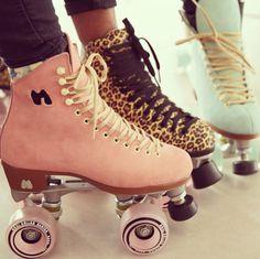 Shoes: pink, blades, skateboard, skates, green, wheels, roller ...