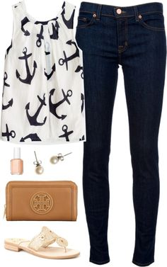 glamgiggles:  Anchored by classically-preppy featuring a nail polish ❤ liked on PolyvoreJ Brand blue jeans./ Jack Rogers  sandals / Tory Burch leather bag / J.Crew stud earrings / Essie nail polish / Factory girls' airy