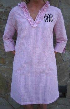 Monogrammed Seersucker Tunic Swimsuit Cover Up Dress  www.tinytulip.com  Pink Seersucker with Black Interlocking Monogram