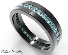 If your man wants to make statement then this Black Gold Princess Cut Aquamarine Wedding Band For Men is for him!