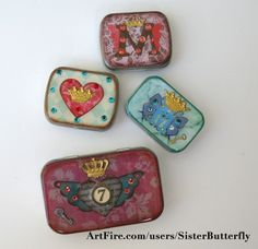 Custom Initial Swarovski Crystal Pill Box | sisterbutterfly - Accessories on ArtFire