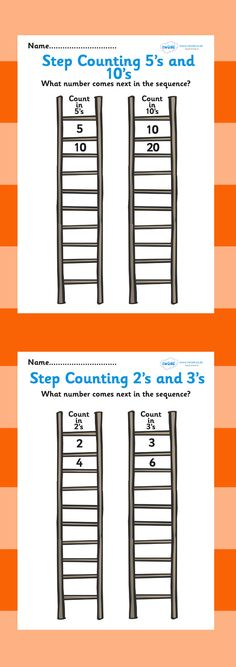 Free Printable: Step Counting Worksheet. Great to laminate and re-use with dry-erase markers for interventions/math/numeracy resource :) (Kindergarten - 5th Grade)