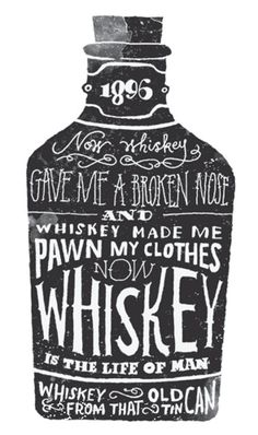 I like this style of typography for the whiskey bottle in this image because, its simply made just a black bottle with white lettering. The WHISKEY writing on the front say that its a strong drink. Inspiration Typographie, Typography Inspiration, Design Inspiration, Design Ideas, Vintage Typography, Typography Letters, Typography Design, Chalkboard Typography, Design Package