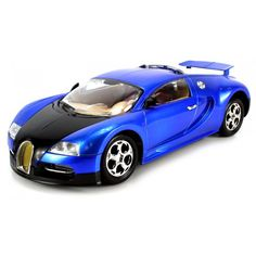 Modeled after the powerful Bugatti Veyron, this RC car features a rechargeable battery and full function control with working headlights and hinged rear suspension. 1:14 scale with chrome wheels and r