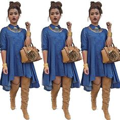 Vintage Sexy Women Loose Long Sleeve Denim Shirt Dress Casual Jeans Mini Dress