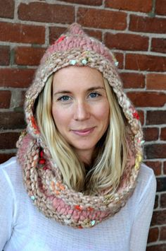 Hoodie Cowl Knit Pattern by KnitCollageYarns on Etsy, $6.50