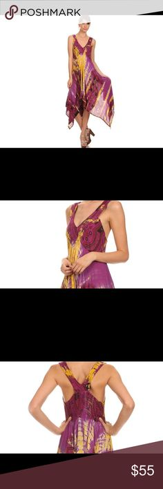 Lala Sakkas Handkerchief Hem V-Neck Sleeveless Sakkas ✌️✌☀️bohemian purple & yellow with splash of black handkerchief hem, v-neck, and a smocked back Lightweight fabric and relaxed fit makes this the perfect summer dress. Keep it casual with sandals or dress it up with heels! Wear it to concerts, the beach, or out on the town! Hand wash separately in cold water. Line dry. Imported.   Material: 100% Rayon ✌My favorite brand of all times. Wore a dress by Sakkas to a recent wedding. Tons of…