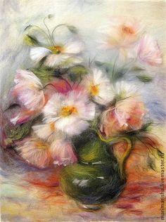 Картина из шерсти Нежность. Розовые Маки - бледно-розовый,маки,картина из шерсти