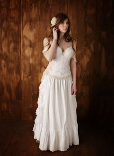 Vintage Lace Wedding Gown Rustic Romance by HopefullyRomantic. We are going through Katherine to get a custom wedding gown. This one is stunning! Rustic Romance Wedding, Country Wedding Gowns, Vintage Lace Weddings, Rustic Wedding Dresses, Wedding Gown Images, Mermaid Dresses, Crocheted Lace, Romantic, Wedding Stuff