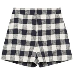 Pre-owned Zara Navy Blue Navy White Check Plaid Gingham High Waist... (€71) ❤ liked on Polyvore featuring shorts, bottoms, navy blue, gingham shorts, highwaisted shorts, navy shorts, tartan shorts and high rise shorts