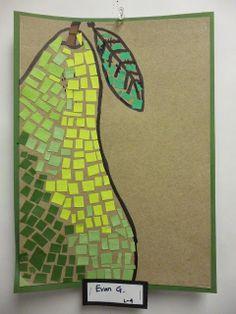 Artistic Freedom: Eat Your Fruits And Veggies Mosaics! : Artistic Freedom: Eat Your Fruits And Veggies Mosaics! Elementary Art Rooms, Art Lessons Elementary, Kids Art Class, Art For Kids, 2nd Grade Art, Ecole Art, Fruits Drawing, Middle School Art, Preschool Art