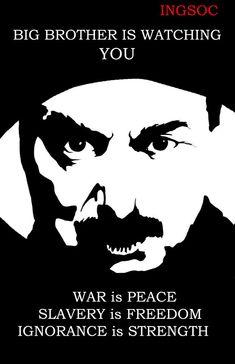 Большой брат следит за тобой.  Война - это мир. Рабство - это свобода. Незнание - сила.